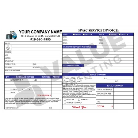 HV-1005 HVAC Half Sheet Invoice & Work Order Digital for Tablets