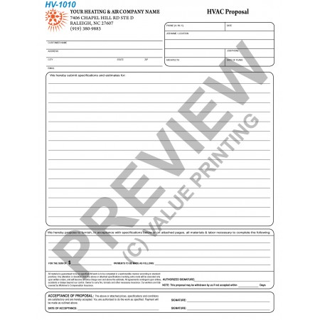 HV-1010 HVAC Equipment Proposal Contract Digital for Tablets