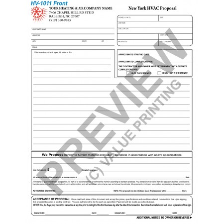 HV-1011 HVAC Equipment Proposal (New York) (2 Sides, Terms on Backside) Digital for Tablets