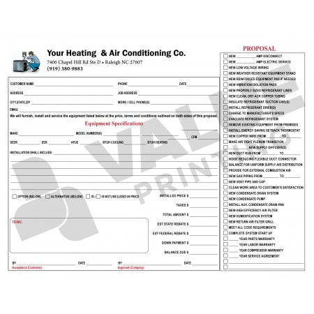 HV-1018 HVAC Equipment Change Out Contract Form (2 Sides, Terms on Back) Digital for Forms