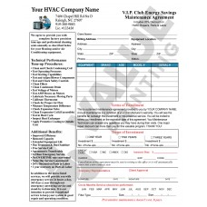 HV-1032 HVAC Service Maintenance Agreement Contract Digital for Tablets