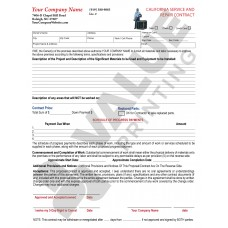 HV-1028C HVAC Service & Repair Contract (California)  2 Sides with CA required terms on backside - Full Color