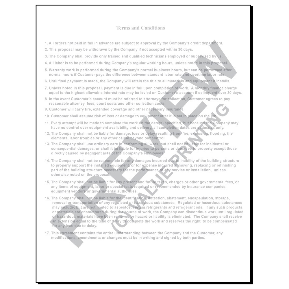 hv 1018 hvac equipment change out contract form 2 sides terms on back
