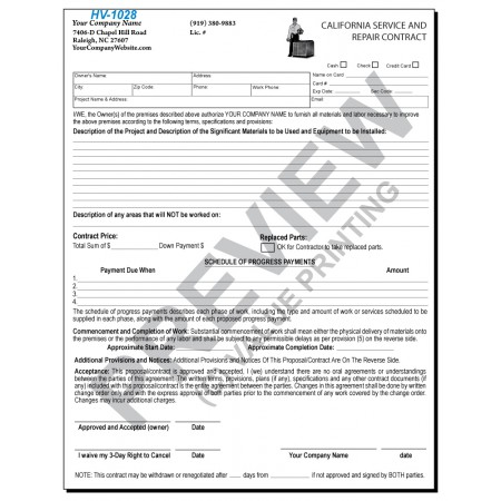 HV-1028 HVAC Service & Repair Contract (California)  2 Sides with CA required terms on backside