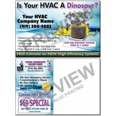 HVAC New System Sales Postcard #15 (Yellow Dinosaur)