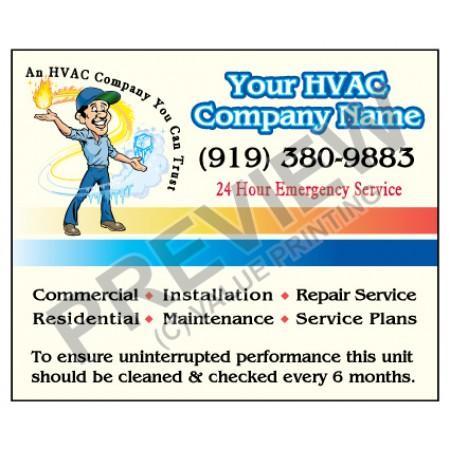 HVAC Weatherproof Service Call Sticker #13 (4.25x3.5)