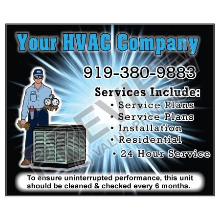 HVAC Weatherproof Service Call Sticker #16 (4.25x3.5)