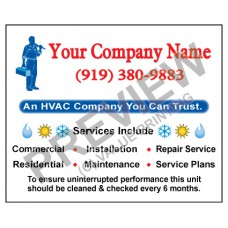 HVAC Weatherproof Service Call Sticker #6 (4.25x3.5)