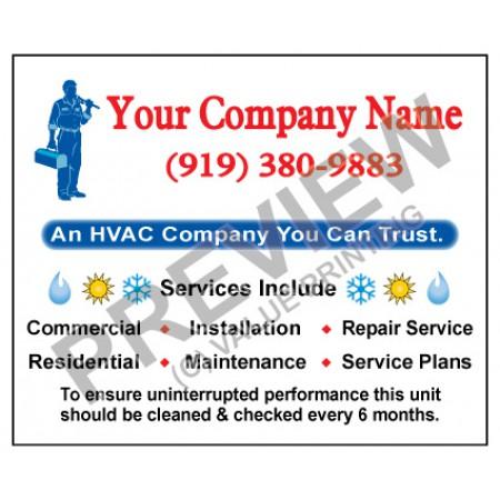 HVAC Weatherproof Service Call Sticker #6 (4.25x3.5)