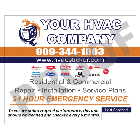 HVAC Vinyl Weatherproof Service Sticker Label #28 (4.25 x 3.5) **NEW**