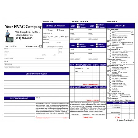 HV-1003C Full Color HVAC Time & Materials Work Order Invoice