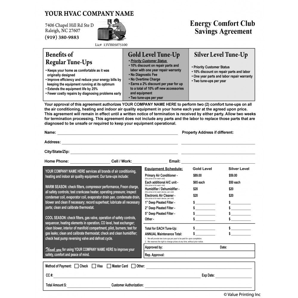 Hvac Maintenance Agreement Form 1035 Terms On Backside