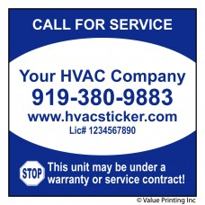 HVAC Economy Size Service Sticker Label #1