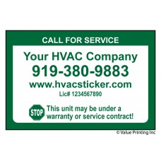 HVAC Economy Size Service Sticker Label #2