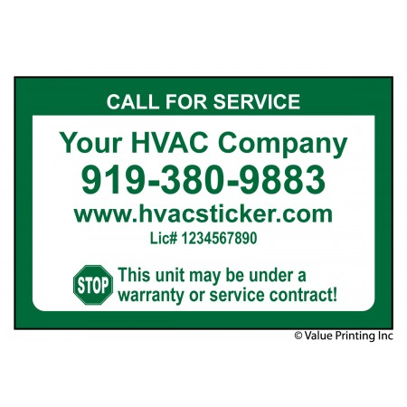 HVAC Weatherproof Economy Size Service Sticker Label #2 (2x3)