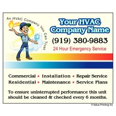 HVAC Vinyl Service Sticker Label #2 (4.25 x 3.5)