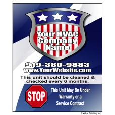 HVAC Vinyl Service Sticker Label #3 (4.25 x 3.5)