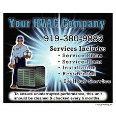 HVAC Vinyl Weatherproof Service Sticker Label #10 (4.25 x 3.5)