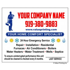 HVAC Vinyl Service Sticker Label #13 (4.25 x 3.5)