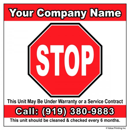 HVAC Vinyl Service Sticker Label #15 (4 x 4)