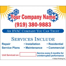 HVAC Vinyl Service Sticker Label #16 (4.25 x 3.5)