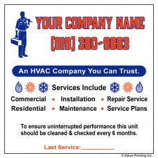 HVAC Vinyl Service Sticker Label #21 (4.25 x 3.5)