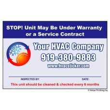 HVAC Vinyl Service Sticker Label #26 (4.25 x 2.75)