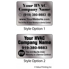 HVAC Brushed Chrome Polyester Sticker Label
