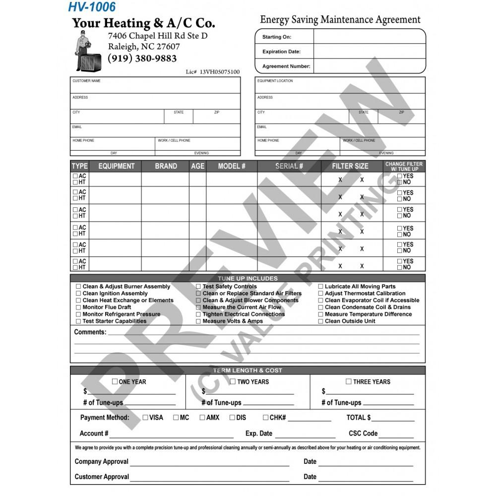 HVAC Preventative Maintenance Agreement form | HVAC Sticker