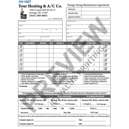 HV-1007 HVAC Extended Service Agreement Contract
