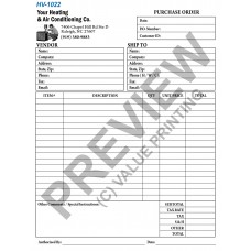 HV-1022 HVAC Purchase Order Form To Vendors