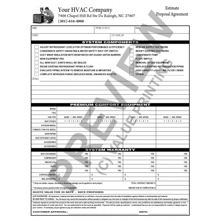 HV-1031 Multi Equipment HVAC Sales Contract