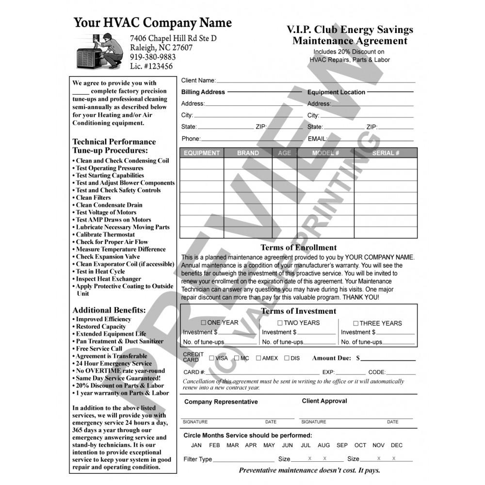 HV 1032 HVAC Service Maintenance Agreement Contract