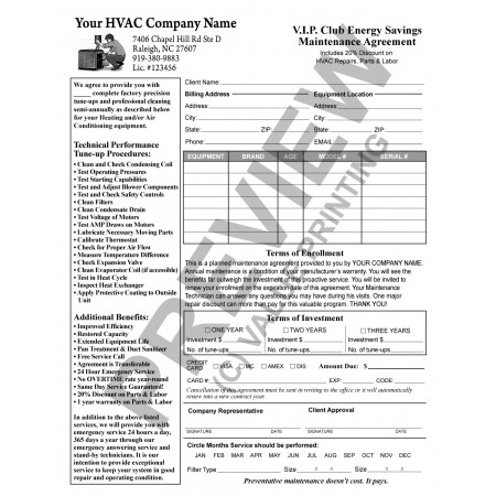 Hv 1032 Hvac Service Maintenance Agreement Contract Form