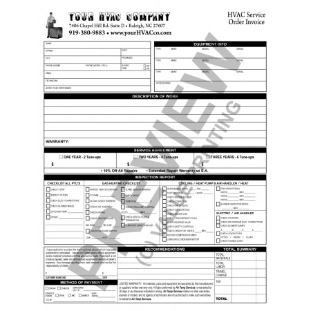 HV-1033 HVAC Maintenance Agreement/Tune-Up Checklist Combo