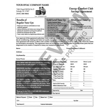 HV-1035 HVAC Maintenance Agreement (Black ink), Terms on Backside