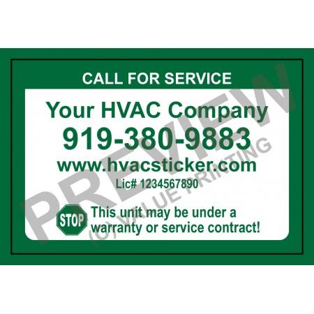 HVAC Weatherproof Economy Service Sticker #2 (2x3)