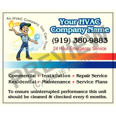 HVAC Writable Service Call Sticker #13 (4.25x3.5)