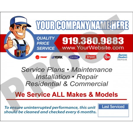 HVAC Service Call Sticker #24 (4.25x3.5)