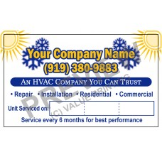 HVAC Writable White Vinyl Service Call Stickers #1 (3x5)