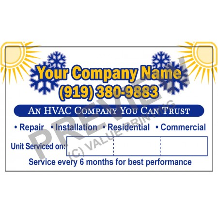 HVAC White Vinyl Service Call Stickers #1 (3x5)