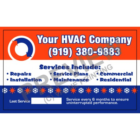 HVAC White Vinyl Business Sticker #4 (3x5)