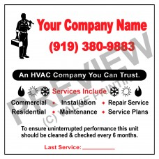 HVAC Writable White/Yellow Vinyl Service Call Label #5 (4x4)