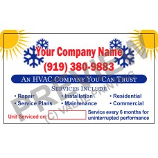 HVAC White Vinyl Writable Business Stickers #8 (4.25x3.5)